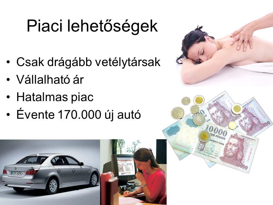 Piaci lehetőségek Csak drágább vetélytársak Vállalható ár Hatalmas piac Évente 170.000 új autó