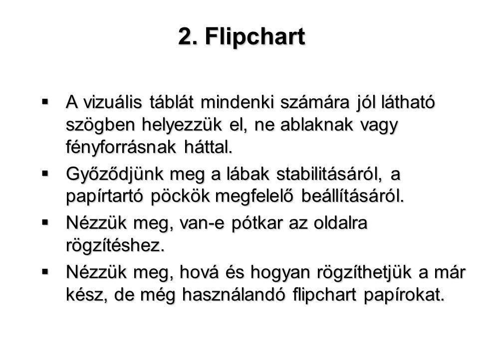 2. Flipchart  A vizuális táblát mindenki számára jól látható szögben helyezzük el, ne ablaknak vagy fényforrásnak háttal.  Győződjünk meg a lábak st