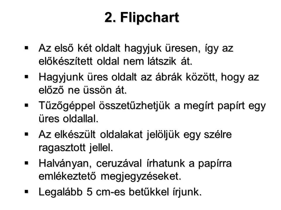 2. Flipchart  Az első két oldalt hagyjuk üresen, így az előkészített oldal nem látszik át.  Hagyjunk üres oldalt az ábrák között, hogy az előző ne ü