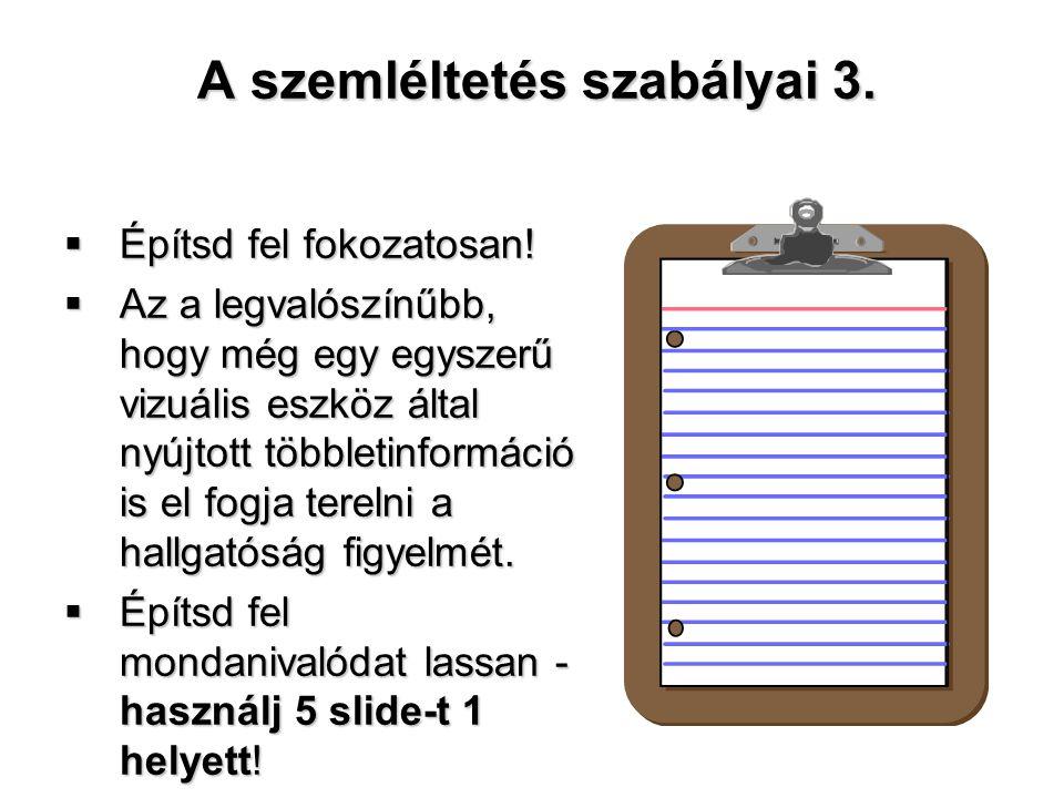 A szemléltetés szabályai 3.  Építsd fel fokozatosan!  Az a legvalószínűbb, hogy még egy egyszerű vizuális eszköz által nyújtott többletinformáció is