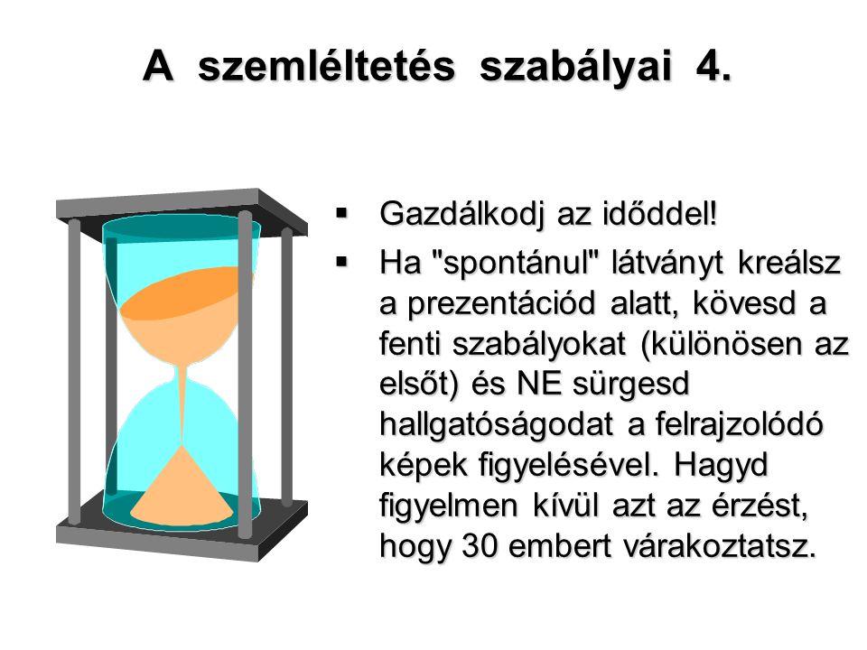 A szemléltetés szabályai 4.  Gazdálkodj az időddel!  Ha