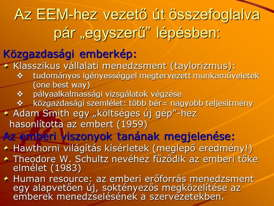 """Az EEM-hez vezető út összefoglalva pár """"egyszerű"""" lépésben: Közgazdasági emberkép: Klasszikus vállalati menedzsment (taylorizmus):  tudományos igénye"""