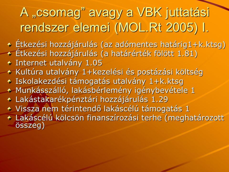 """A """"csomag"""" avagy a VBK juttatási rendszer elemei (MOL.Rt 2005) I. Étkezési hozzájárulás (az adómentes határig1+k.ktsg) Étkezési hozzájárulás (a határé"""