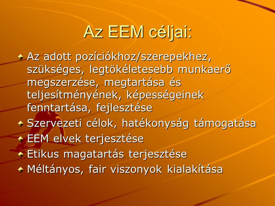 Az EEM céljai: Az adott pozíciókhoz/szerepekhez, szükséges, legtökéletesebb munkaerő megszerzése, megtartása és teljesítményének, képességeinek fennta