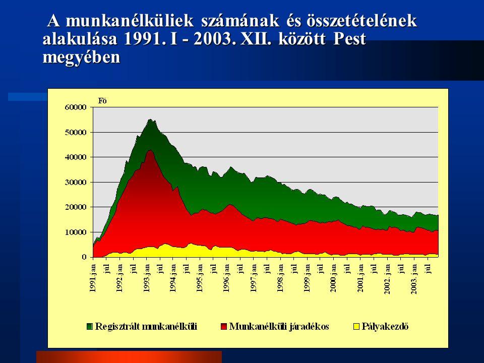 A munkanélküliek számának és összetételének alakulása 1991. I - 2003. XII. között Pest megyében A munkanélküliek számának és összetételének alakulása