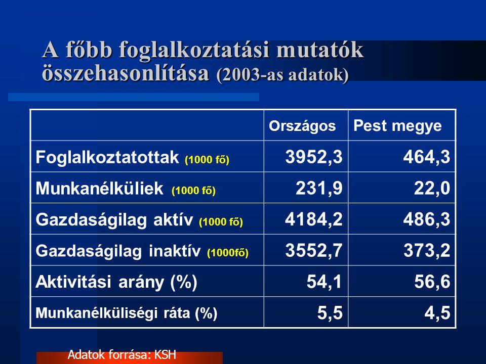 A főbb foglalkoztatási mutatók összehasonlítása (2003-as adatok) Országos Pest megye Foglalkoztatottak (1000 fő) 3952,3464,3 Munkanélküliek (1000 fő)