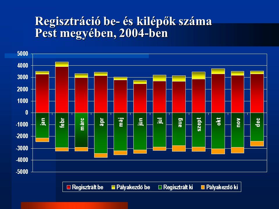 Regisztráció be- és kilépők száma Pest megyében, 2004-ben