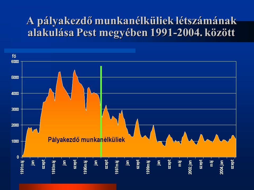 A pályakezdő munkanélküliek létszámának alakulása Pest megyében 1991-2004. között Pályakezdő munkanélküliek