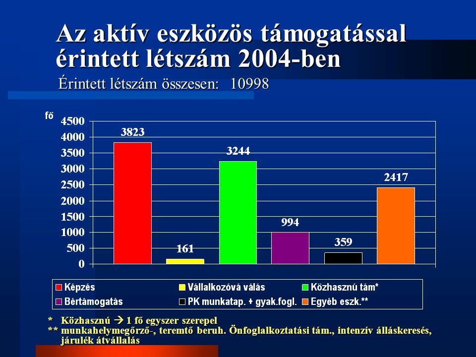 Az aktív eszközös támogatással érintett létszám 2004-ben Érintett létszám összesen: 10998 * Közhasznú  1 fő egyszer szerepel ** munkahelymegőrző-, te