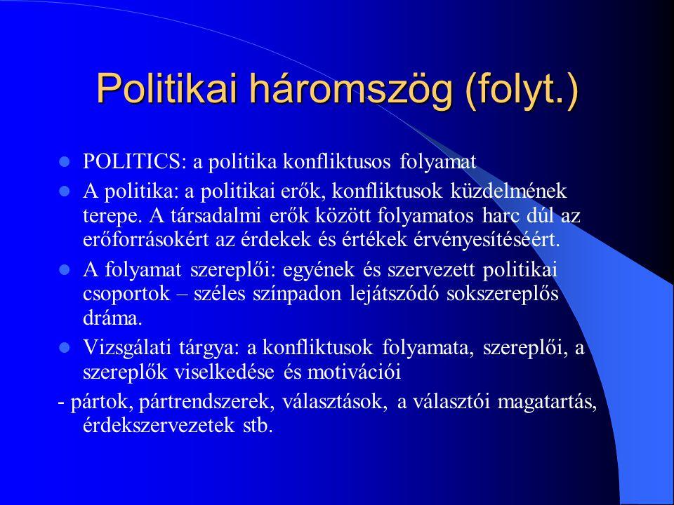 Politikai háromszög (folyt.) POLITICS: a politika konfliktusos folyamat A politika: a politikai erők, konfliktusok küzdelmének terepe.