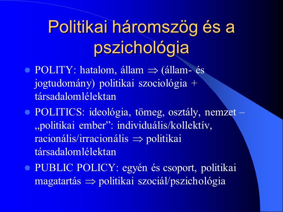 Politikai háromszög (folyt.) PUBLIC POLICY (közpolitika): a közügyek intézése, politikai célok és programok elfogadása a társadalmi részvétel mellett A döntéshozatali oldalt vizsgálja, a politikacsinálást: kik vesznek részt a döntésekben Tárgya: számít-e egyáltalán a politika, vagy más tényezők határozzák meg, hogy milyen politika érvényesül