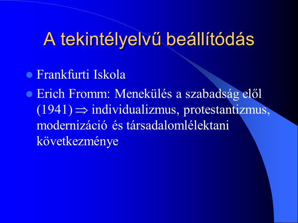 A tekintélyelvű beállítódás Frankfurti Iskola Erich Fromm: Menekülés a szabadság elől (1941)  individualizmus, protestantizmus, modernizáció és társadalomlélektani következménye