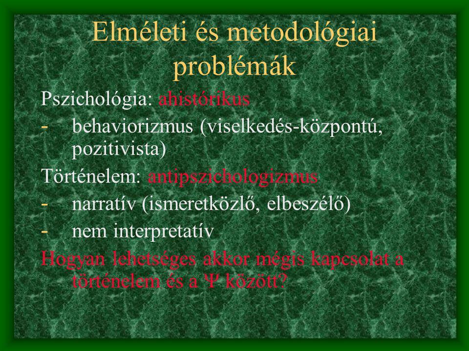 Szociálpszichológia és történelem Elméleti és metodológiai problémák Pszicho-archeológia Kulturális-történeti pszichológia Pszicho-história Történelmi