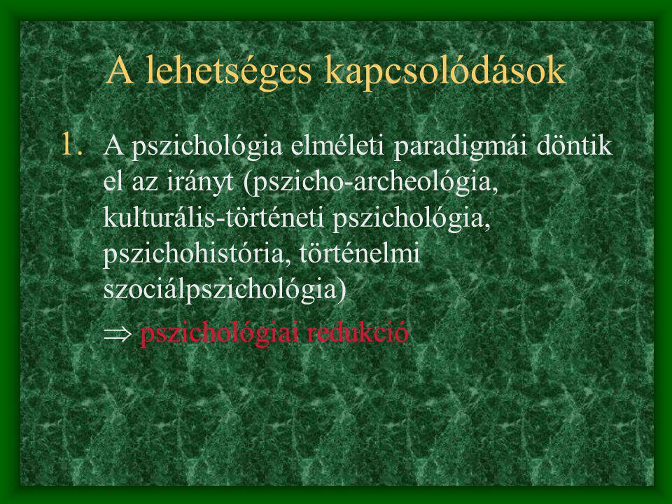Elméleti és metodológiai problémák Pszichológia: ahistórikus - behaviorizmus (viselkedés-központú, pozitivista) Történelem: antipszichologizmus - narr