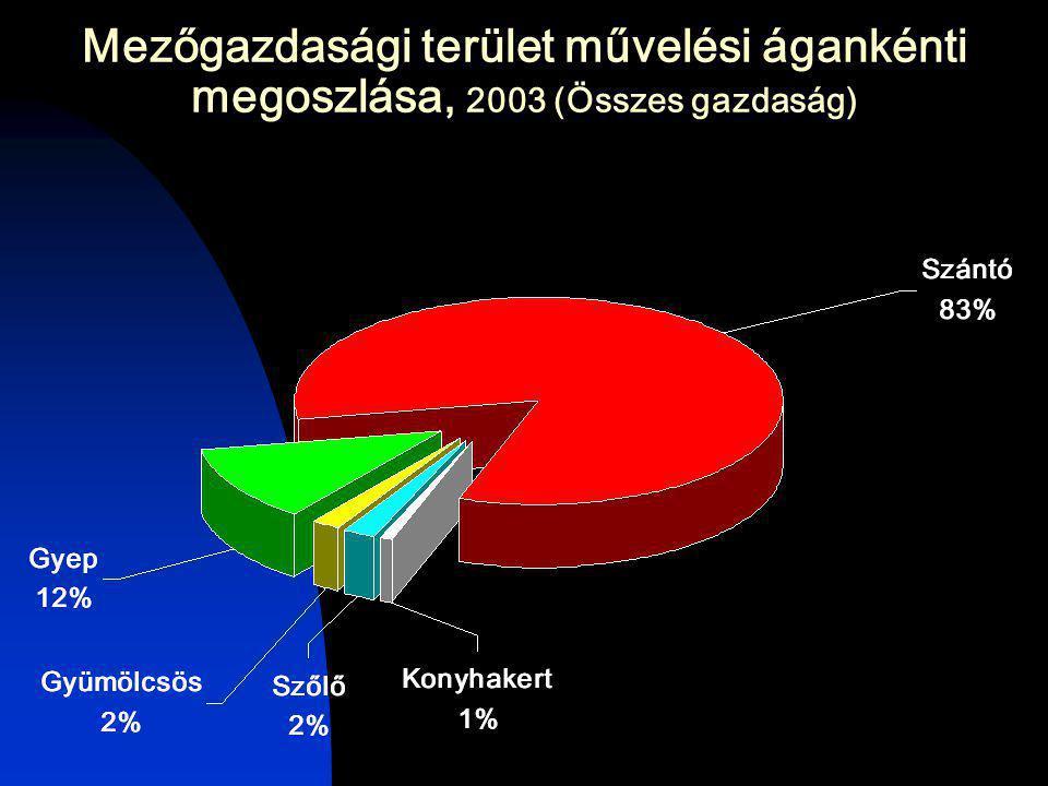 Mezőgazdasági terület művelési ágankénti megoszlása, 2003 (Összes gazdaság)