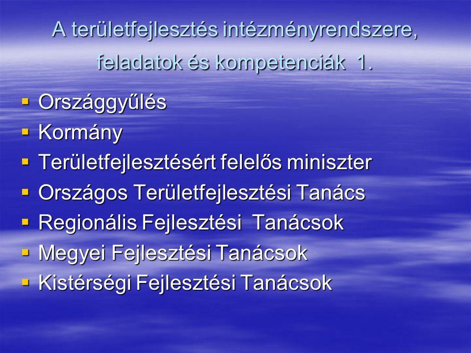 A területfejlesztés intézményrendszere, feladatok és kompetenciák 1.  Országgyűlés  Kormány  Területfejlesztésért felelős miniszter  Országos Terü