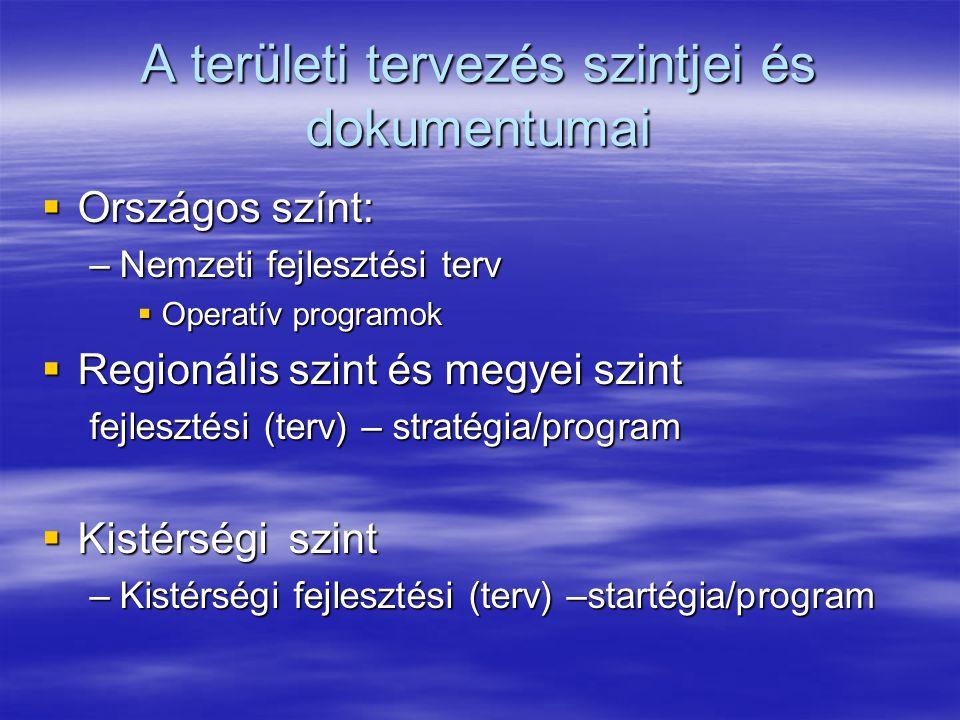 A területi tervezés szintjei és dokumentumai  Országos színt: –Nemzeti fejlesztési terv  Operatív programok  Regionális szint és megyei szint fejlesztési (terv) – stratégia/program  Kistérségi szint –Kistérségi fejlesztési (terv) –startégia/program