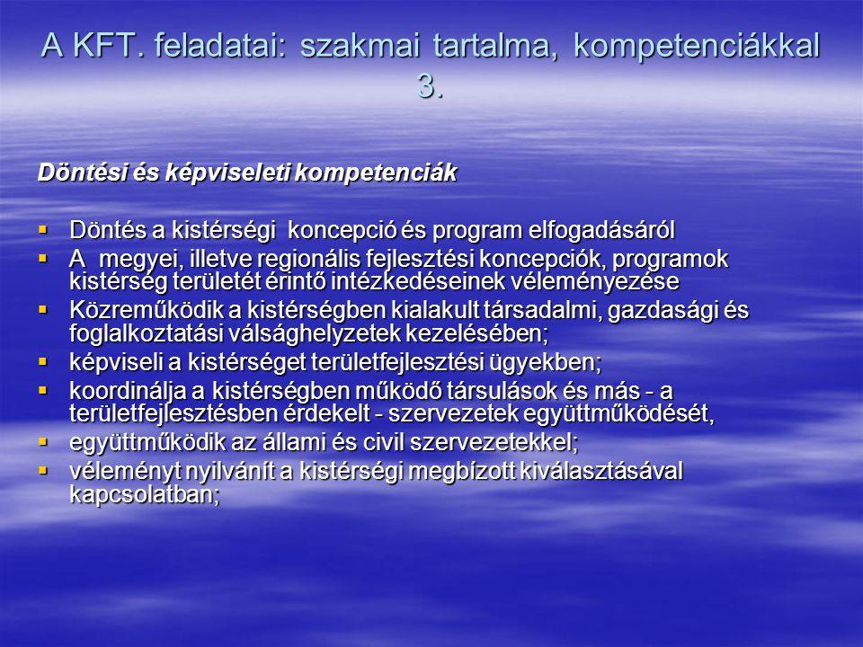 A KFT. feladatai: szakmai tartalma, kompetenciákkal 3. Döntési és képviseleti kompetenciák  Döntés a kistérségi koncepció és program elfogadásáról 
