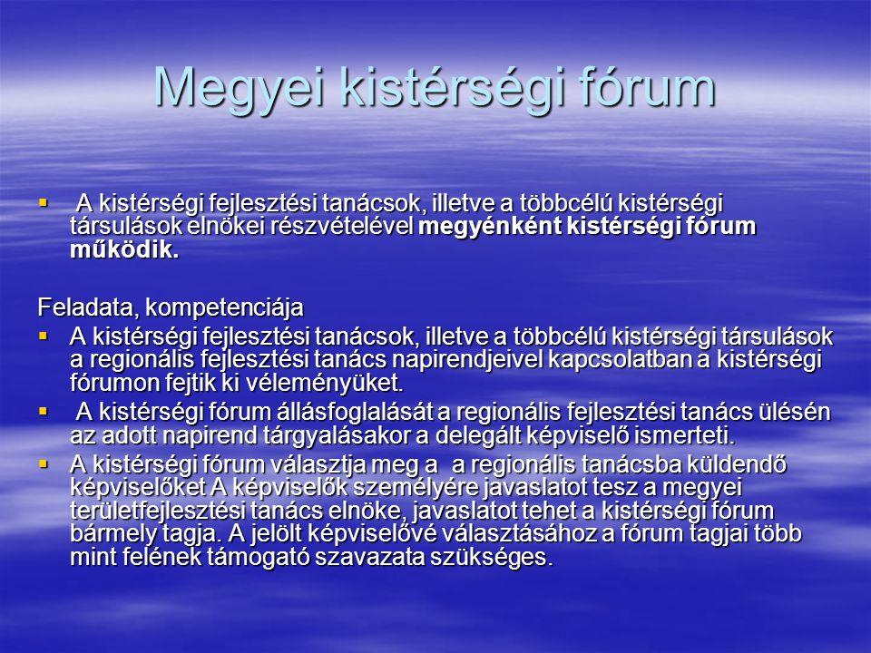 Megyei kistérségi fórum  A kistérségi fejlesztési tanácsok, illetve a többcélú kistérségi társulások elnökei részvételével megyénként kistérségi fórum működik.