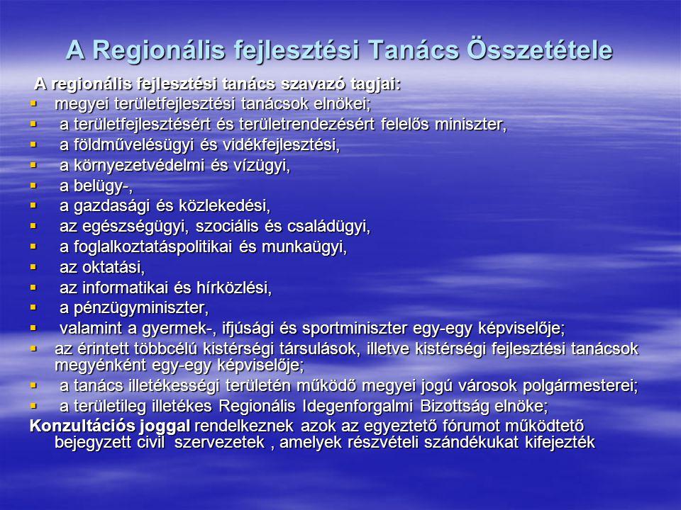 A Regionális fejlesztési Tanács Összetétele A regionális fejlesztési tanács szavazó tagjai: A regionális fejlesztési tanács szavazó tagjai:  megyei területfejlesztési tanácsok elnökei;  a területfejlesztésért és területrendezésért felelős miniszter,  a földművelésügyi és vidékfejlesztési,  a környezetvédelmi és vízügyi,  a belügy-,  a gazdasági és közlekedési,  az egészségügyi, szociális és családügyi,  a foglalkoztatáspolitikai és munkaügyi,  az oktatási,  az informatikai és hírközlési,  a pénzügyminiszter,  valamint a gyermek-, ifjúsági és sportminiszter egy-egy képviselője;  az érintett többcélú kistérségi társulások, illetve kistérségi fejlesztési tanácsok megyénként egy-egy képviselője;  a tanács illetékességi területén működő megyei jogú városok polgármesterei;  a területileg illetékes Regionális Idegenforgalmi Bizottság elnöke; Konzultációs joggal rendelkeznek azok az egyeztető fórumot működtető bejegyzett civil szervezetek, amelyek részvételi szándékukat kifejezték