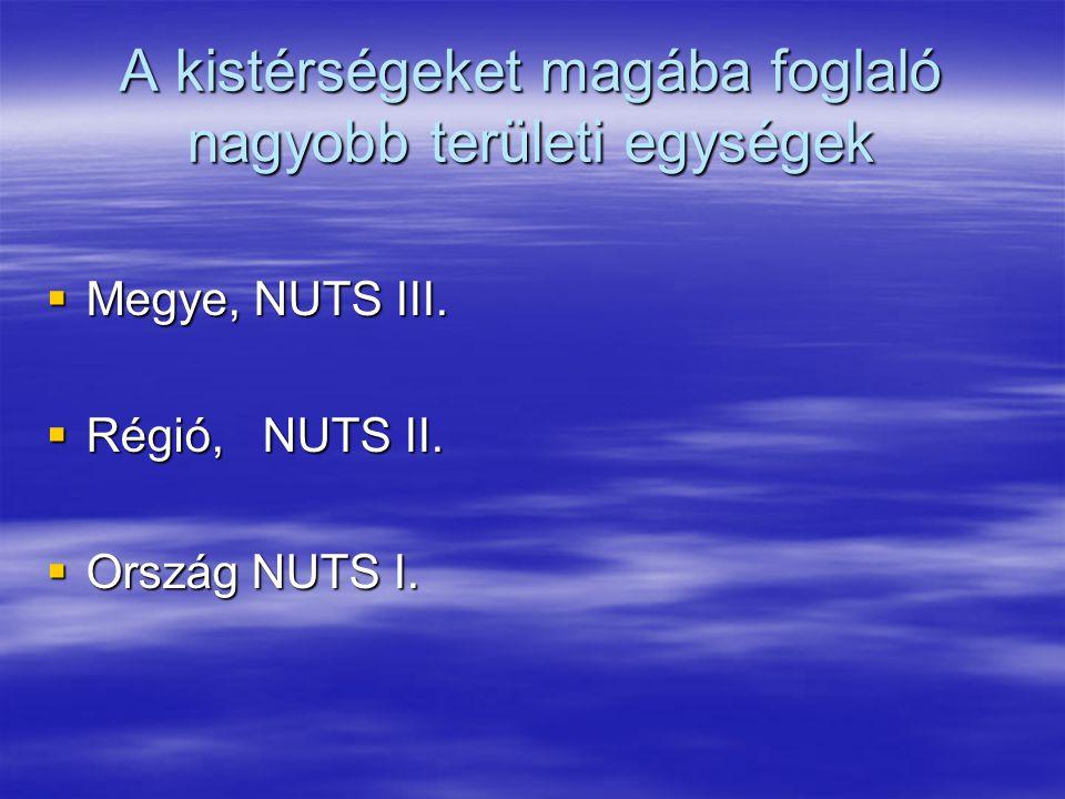 A kistérségeket magába foglaló nagyobb területi egységek  Megye, NUTS III.  Régió, NUTS II.  Ország NUTS I.