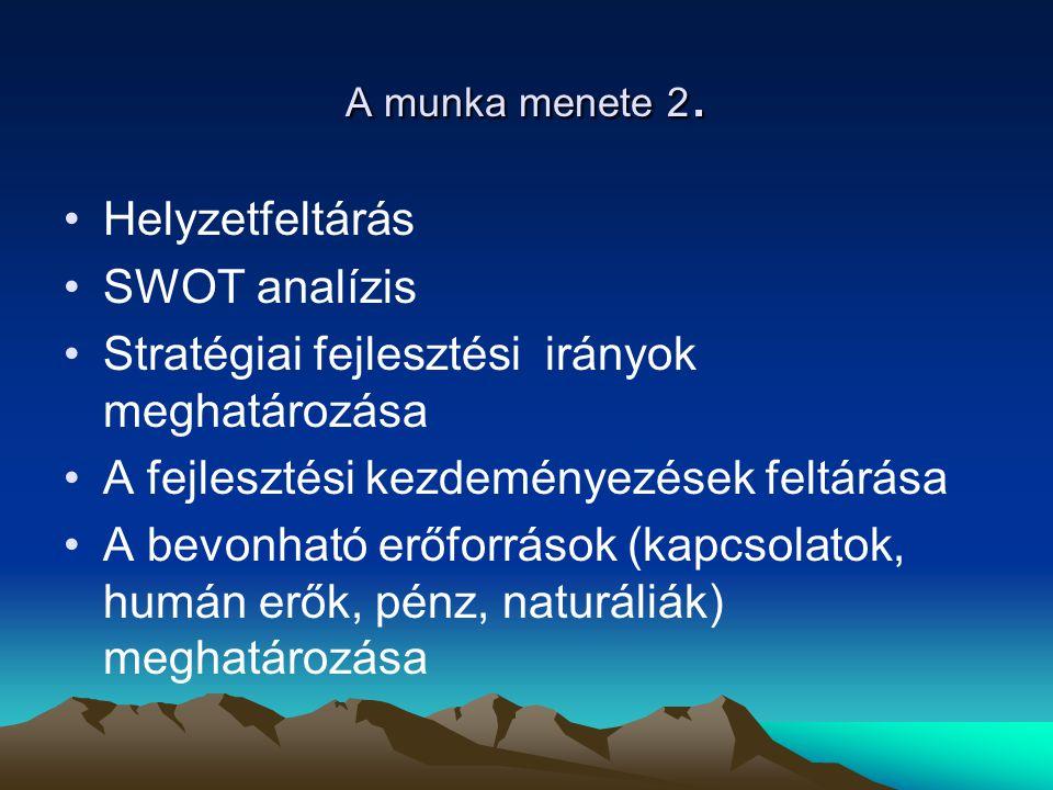 A munka menete 2. Helyzetfeltárás SWOT analízis Stratégiai fejlesztési irányok meghatározása A fejlesztési kezdeményezések feltárása A bevonható erőfo