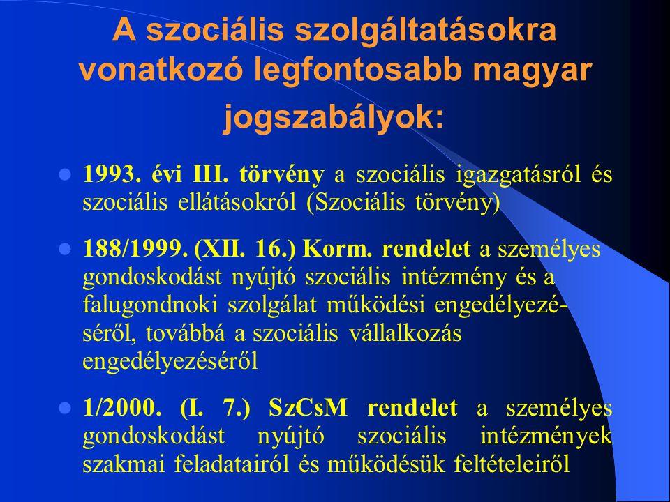 A szociális szolgáltatásokra vonatkozó legfontosabb magyar jogszabályok: 1993. évi III. törvény a szociális igazgatásról és szociális ellátásokról (Sz
