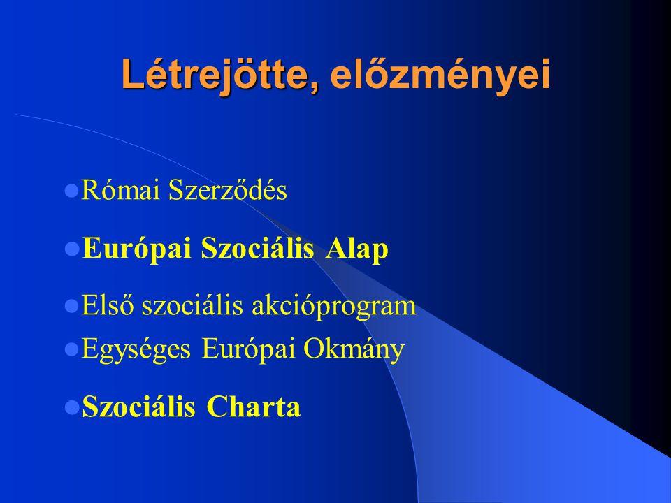 Létrejötte, Létrejötte, előzményei Római Szerződés Európai Szociális Alap Első szociális akcióprogram Egységes Európai Okmány Szociális Charta
