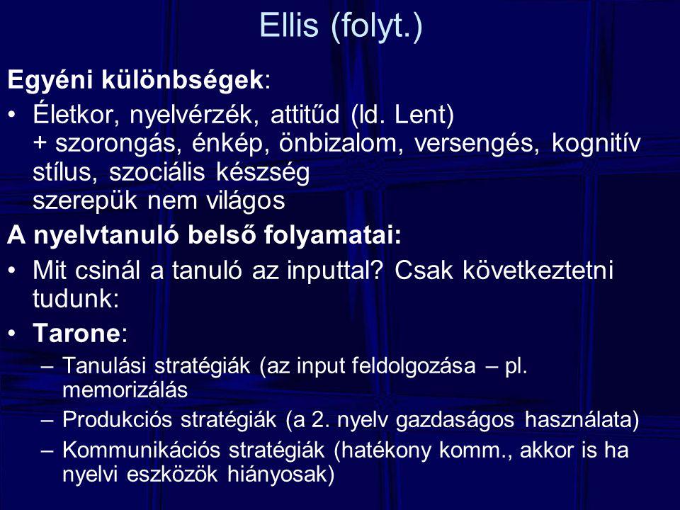 Ellis (folyt.) Egyéni különbségek: Életkor, nyelvérzék, attitűd (ld. Lent) + szorongás, énkép, önbizalom, versengés, kognitív stílus, szociális készsé