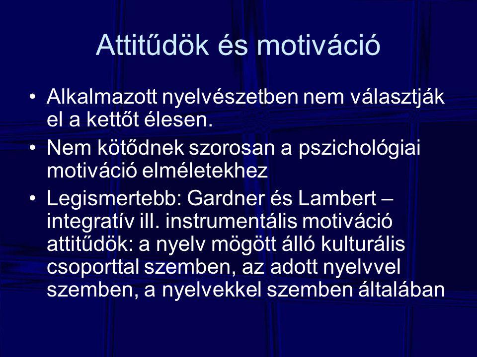 Attitűdök és motiváció Alkalmazott nyelvészetben nem választják el a kettőt élesen. Nem kötődnek szorosan a pszichológiai motiváció elméletekhez Legis
