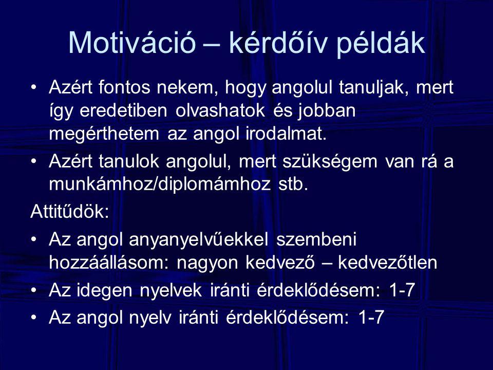 Motiváció – kérdőív példák Azért fontos nekem, hogy angolul tanuljak, mert így eredetiben olvashatok és jobban megérthetem az angol irodalmat. Azért t