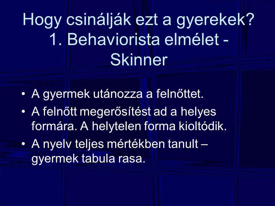 Hogy csinálják ezt a gyerekek.1. Behaviorista elmélet - Skinner A gyermek utánozza a felnőttet.