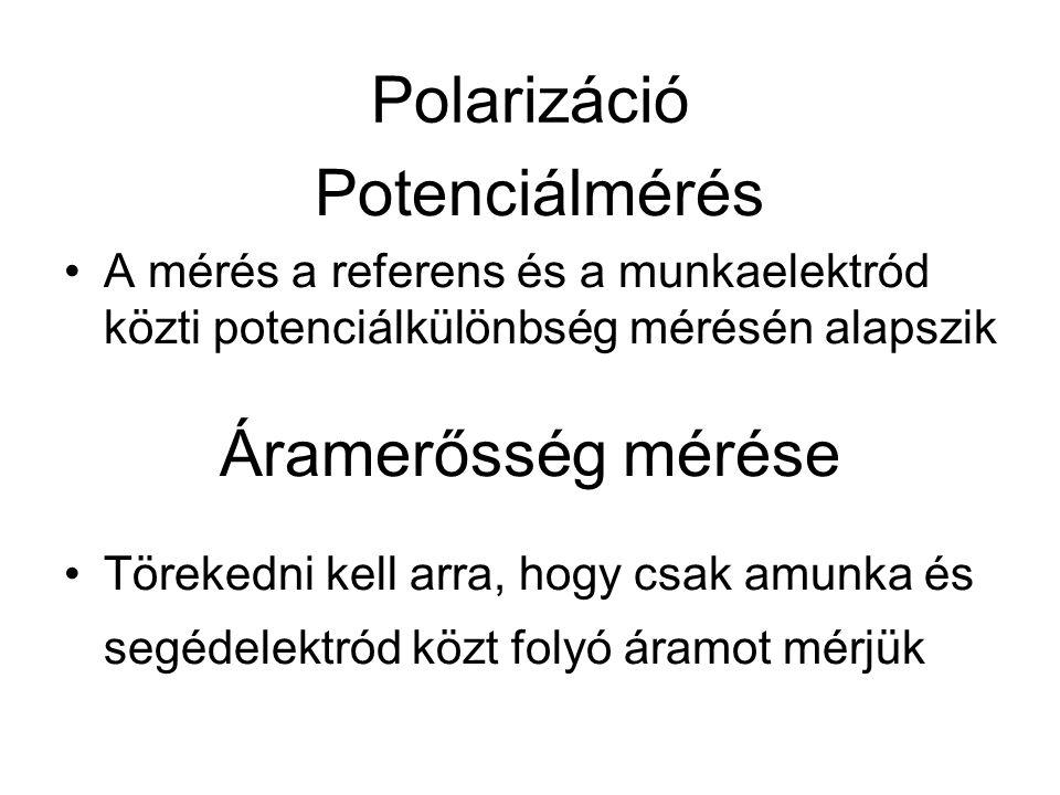 Polarizáció Potenciálmérés A mérés a referens és a munkaelektród közti potenciálkülönbség mérésén alapszik Áramerősség mérése Törekedni kell arra, hog