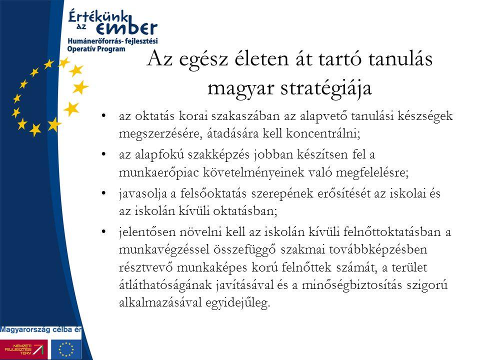 Az egész életen át tartó tanulás magyar stratégiája az oktatás korai szakaszában az alapvető tanulási készségek megszerzésére, átadására kell koncentrálni; az alapfokú szakképzés jobban készítsen fel a munkaerőpiac követelményeinek való megfelelésre; javasolja a felsőoktatás szerepének erősítését az iskolai és az iskolán kívüli oktatásban; jelentősen növelni kell az iskolán kívüli felnőttoktatásban a munkavégzéssel összefüggő szakmai továbbképzésben résztvevő munkaképes korú felnőttek számát, a terület átláthatóságának javításával és a minőségbiztosítás szigorú alkalmazásával egyidejűleg.