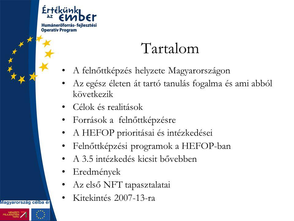 Tartalom A felnőttképzés helyzete Magyarországon Az egész életen át tartó tanulás fogalma és ami abból következik Célok és realitások Források a felnőttképzésre A HEFOP prioritásai és intézkedései Felnőttképzési programok a HEFOP-ban A 3.5 intézkedés kicsit bővebben Eredmények Az első NFT tapasztalatai Kitekintés 2007-13-ra