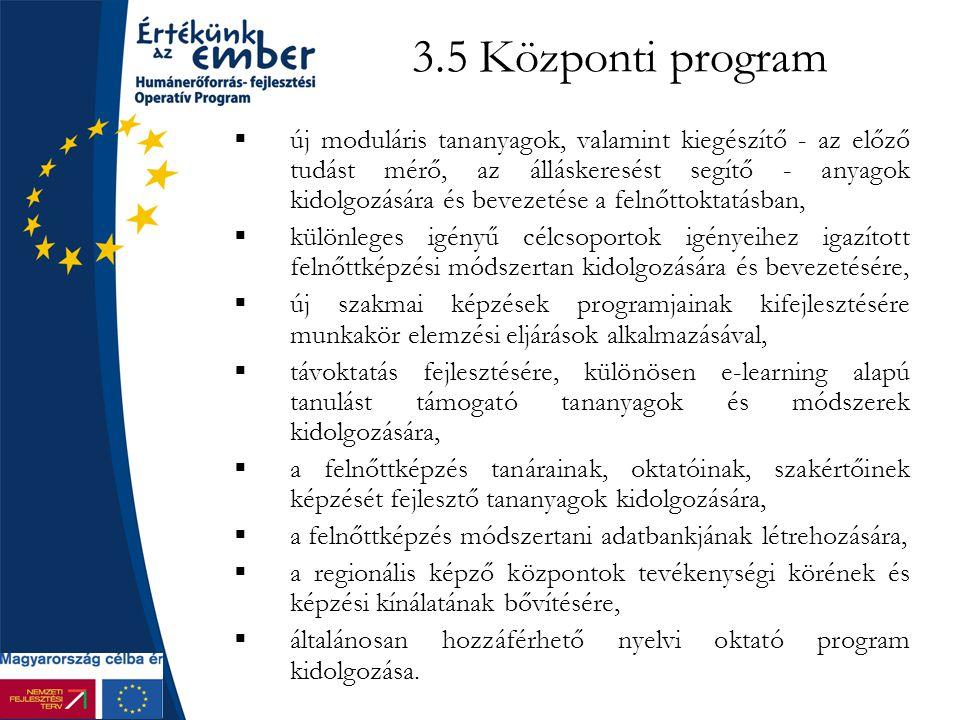 3.5 Központi program  új moduláris tananyagok, valamint kiegészítő - az előző tudást mérő, az álláskeresést segítő - anyagok kidolgozására és bevezetése a felnőttoktatásban,  különleges igényű célcsoportok igényeihez igazított felnőttképzési módszertan kidolgozására és bevezetésére,  új szakmai képzések programjainak kifejlesztésére munkakör elemzési eljárások alkalmazásával,  távoktatás fejlesztésére, különösen e-learning alapú tanulást támogató tananyagok és módszerek kidolgozására,  a felnőttképzés tanárainak, oktatóinak, szakértőinek képzését fejlesztő tananyagok kidolgozására,  a felnőttképzés módszertani adatbankjának létrehozására,  a regionális képző központok tevékenységi körének és képzési kínálatának bővítésére,  általánosan hozzáférhető nyelvi oktató program kidolgozása.