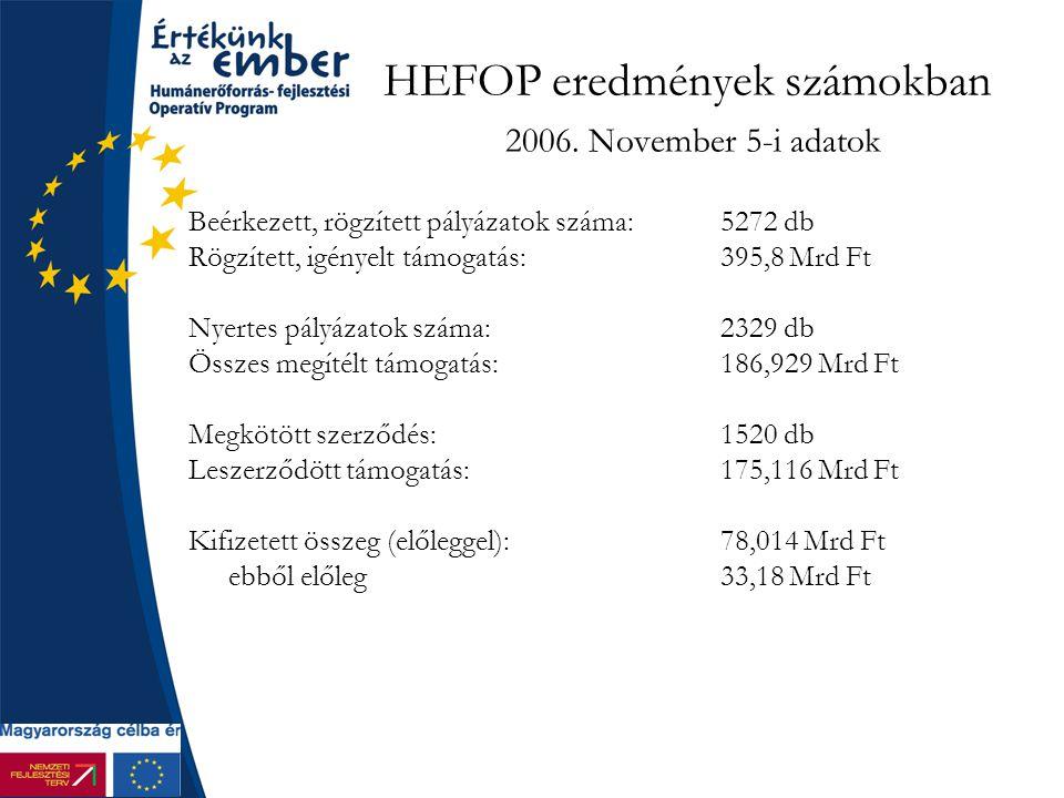 HEFOP eredmények számokban 2006.