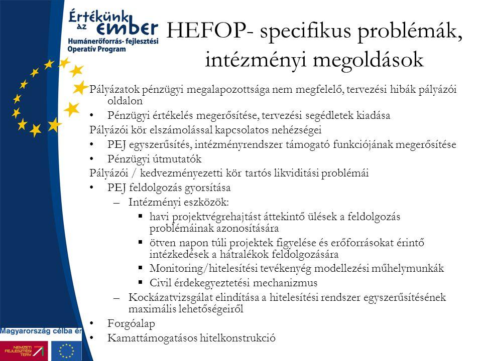HEFOP- specifikus problémák, intézményi megoldások Pályázatok pénzügyi megalapozottsága nem megfelelő, tervezési hibák pályázói oldalon Pénzügyi értékelés megerősítése, tervezési segédletek kiadása Pályázói kör elszámolással kapcsolatos nehézségei PEJ egyszerűsítés, intézményrendszer támogató funkciójának megerősítése Pénzügyi útmutatók Pályázói / kedvezményezetti kör tartós likviditási problémái PEJ feldolgozás gyorsítása –Intézményi eszközök:  havi projektvégrehajtást áttekintő ülések a feldolgozás problémáinak azonosítására  ötven napon túli projektek figyelése és erőforrásokat érintő intézkedések a hátralékok feldolgozására  Monitoring/hitelesítési tevékenyég modellezési műhelymunkák  Civil érdekegyeztetési mechanizmus –Kockázatvizsgálat elindítása a hitelesítési rendszer egyszerűsítésének maximális lehetőségeiről Forgóalap Kamattámogatásos hitelkonstrukció