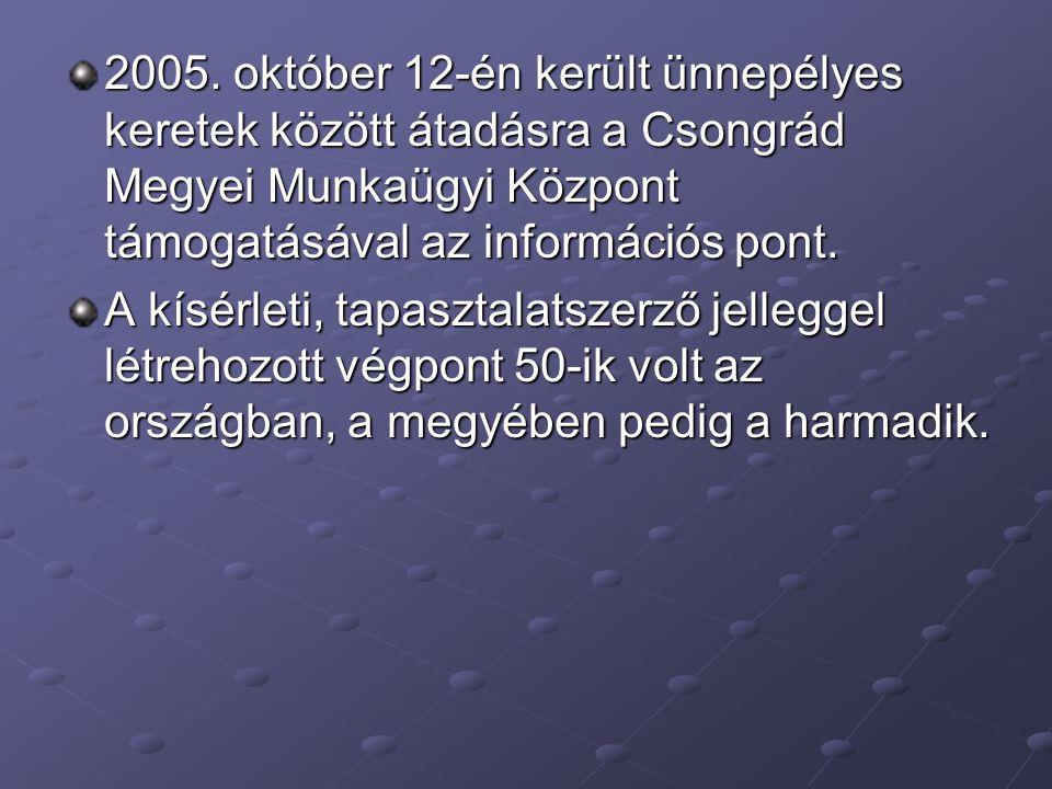 2005. október 12-én került ünnepélyes keretek között átadásra a Csongrád Megyei Munkaügyi Központ támogatásával az információs pont. A kísérleti, tapa