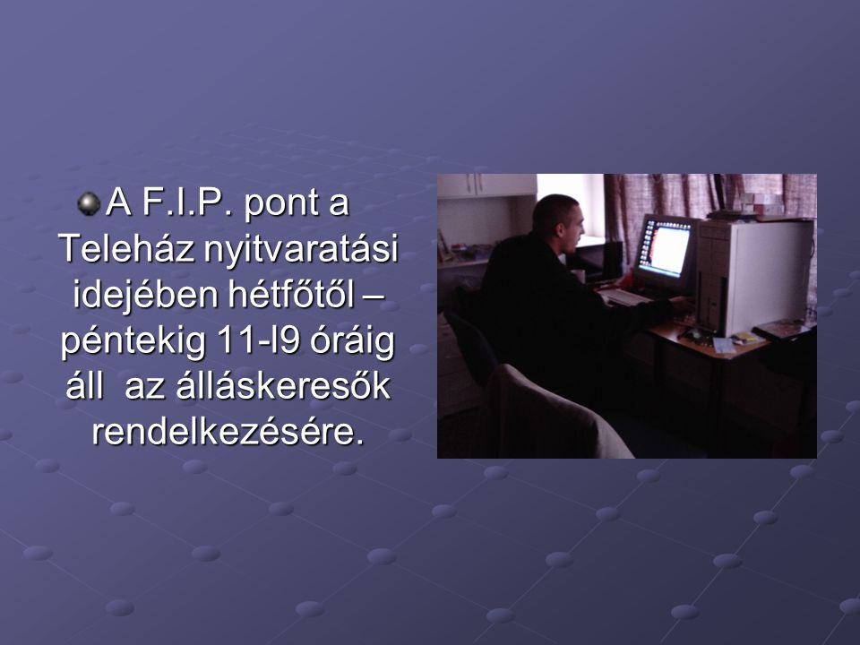 A F.I.P. pont a Teleház nyitvaratási idejében hétfőtől – péntekig 11-l9 óráig áll az álláskeresők rendelkezésére.