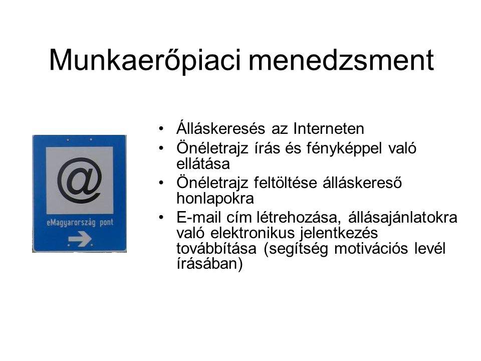 Munkaerőpiaci menedzsment Álláskeresés az Interneten Önéletrajz írás és fényképpel való ellátása Önéletrajz feltöltése álláskereső honlapokra E-mail cím létrehozása, állásajánlatokra való elektronikus jelentkezés továbbítása (segítség motivációs levél írásában)