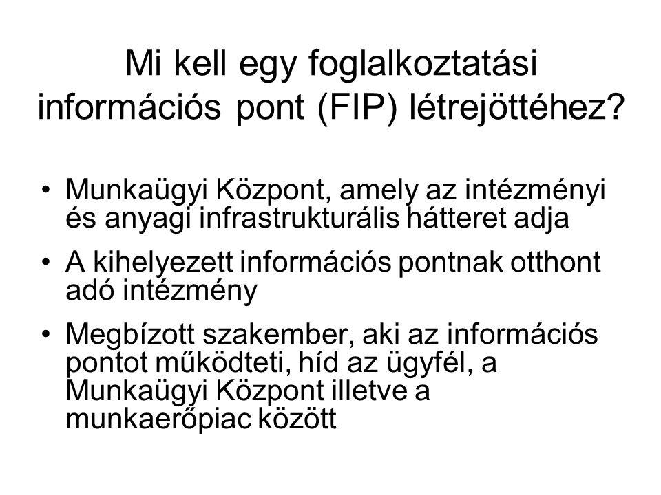 Mi kell egy foglalkoztatási információs pont (FIP) létrejöttéhez? Munkaügyi Központ, amely az intézményi és anyagi infrastrukturális hátteret adja A k