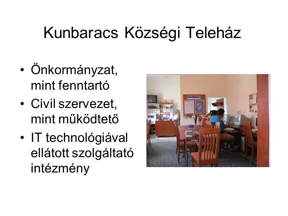 Kunbaracs Községi Teleház Önkormányzat, mint fenntartó Civil szervezet, mint működtető IT technológiával ellátott szolgáltató intézmény