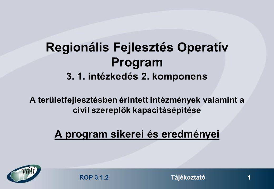 ROP 3.1.2Tájékoztató 1 Regionális Fejlesztés Operatív Program 3. 1. intézkedés 2. komponens A területfejlesztésben érintett intézmények valamint a civ