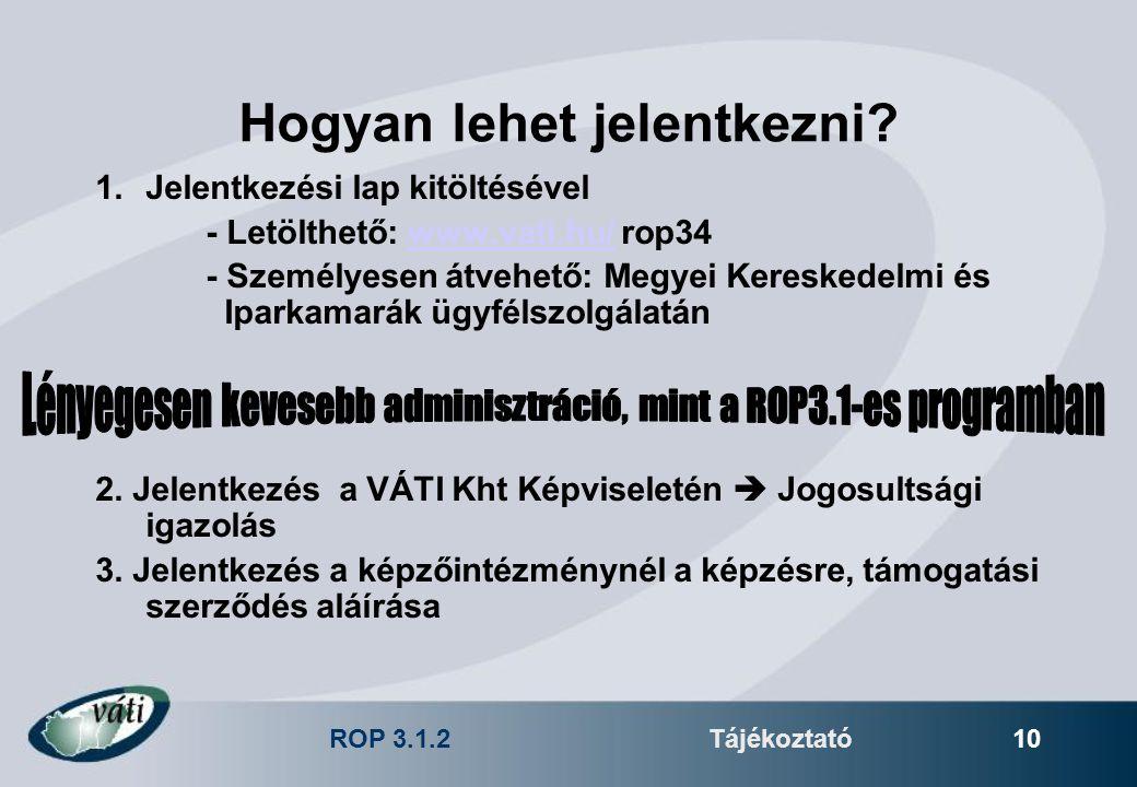 ROP 3.1.2Tájékoztató 10 Hogyan lehet jelentkezni? 1.Jelentkezési lap kitöltésével - Letölthető: www.vati.hu/ rop34www.vati.hu/ - Személyesen átvehető: