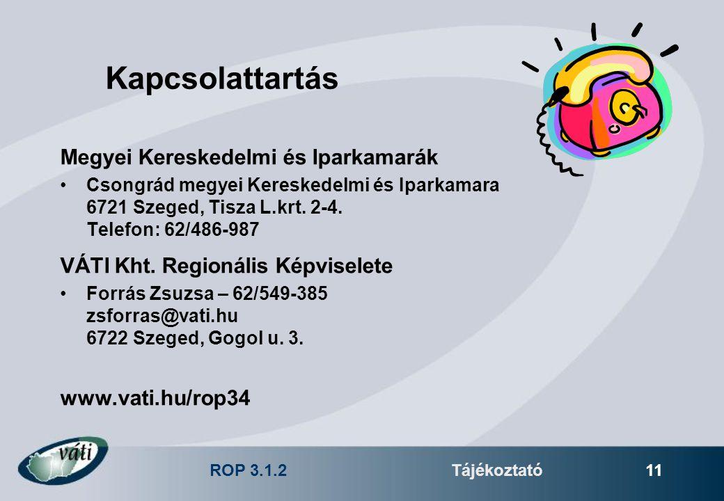 ROP 3.1.2Tájékoztató 11 Kapcsolattartás Megyei Kereskedelmi és Iparkamarák Csongrád megyei Kereskedelmi és Iparkamara 6721 Szeged, Tisza L.krt. 2-4. T