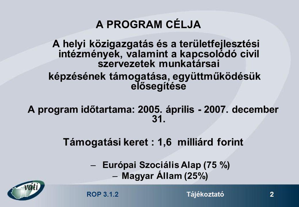 ROP 3.1.2Tájékoztató 2 A PROGRAM CÉLJA A helyi közigazgatás és a területfejlesztési intézmények, valamint a kapcsolódó civil szervezetek munkatársai k