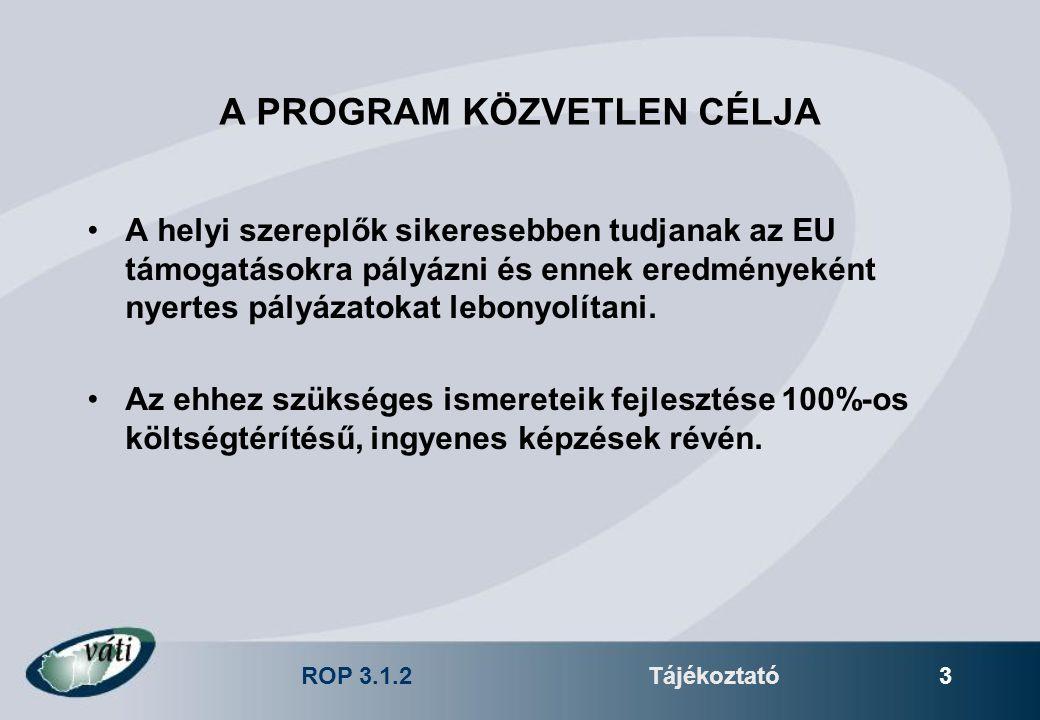 ROP 3.1.2Tájékoztató 3 A PROGRAM KÖZVETLEN CÉLJA A helyi szereplők sikeresebben tudjanak az EU támogatásokra pályázni és ennek eredményeként nyertes p