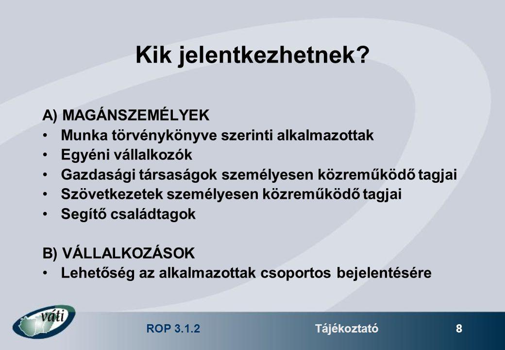 ROP 3.1.2Tájékoztató 8 Kik jelentkezhetnek? A) MAGÁNSZEMÉLYEK Munka törvénykönyve szerinti alkalmazottak Egyéni vállalkozók Gazdasági társaságok szemé