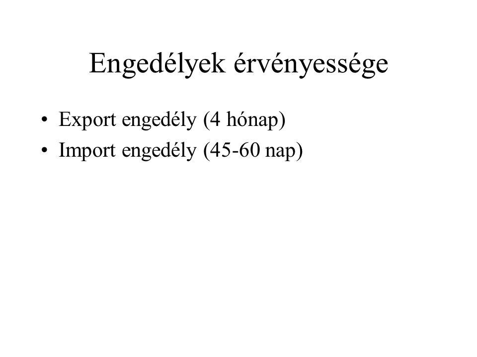 Engedélyek érvényessége Export engedély (4 hónap) Import engedély (45-60 nap)